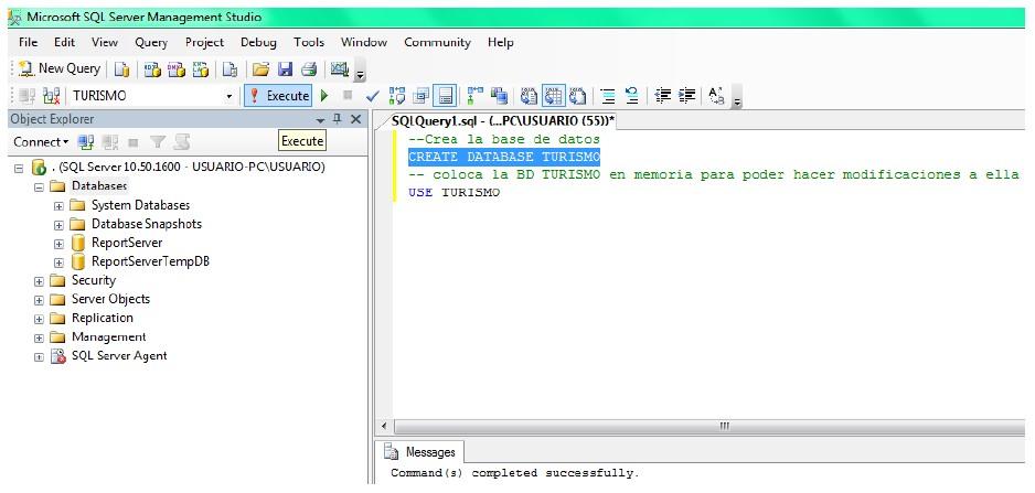 crear base de datos sql