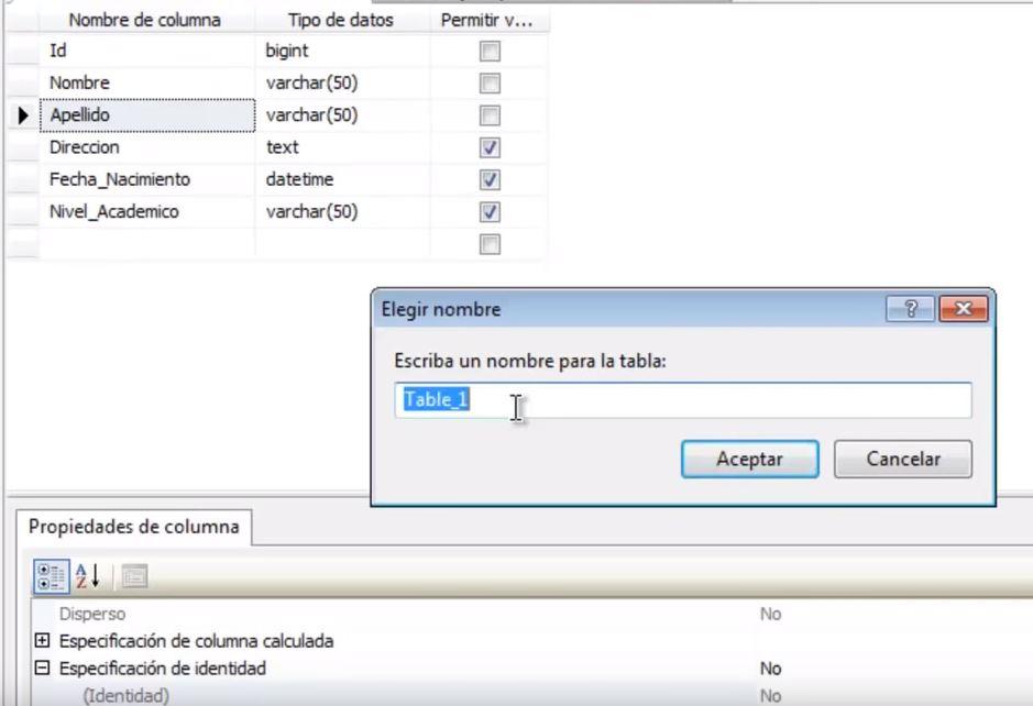 como crear tablas en sql server management studio
